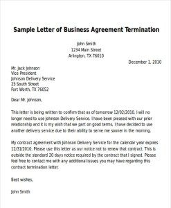 Sample Letter Of Business Agreement Termination Business