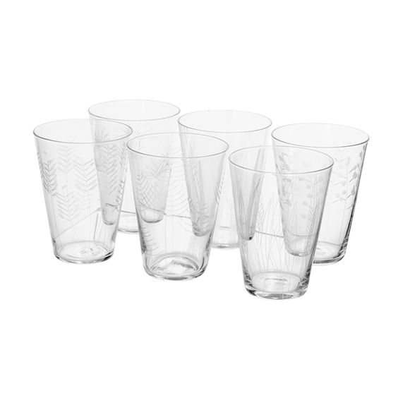 Roost Etched Botanical Juice Glasses- set of 6 | Orange and Pear