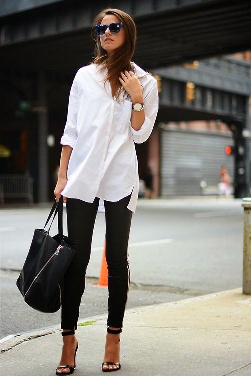 white shirt with black jeans, so timelessly classic and effortlessly chic - Discover Sojasun Italian Facebook, Pinterest and Instagram Pages!: