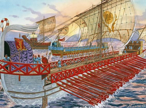 The fleet of the Emperor Trajan at the conquest of Dacia, Istrum, 101 AD