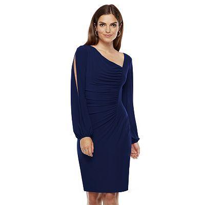 Chaps Asymmetrical Sheath Dress - Women's