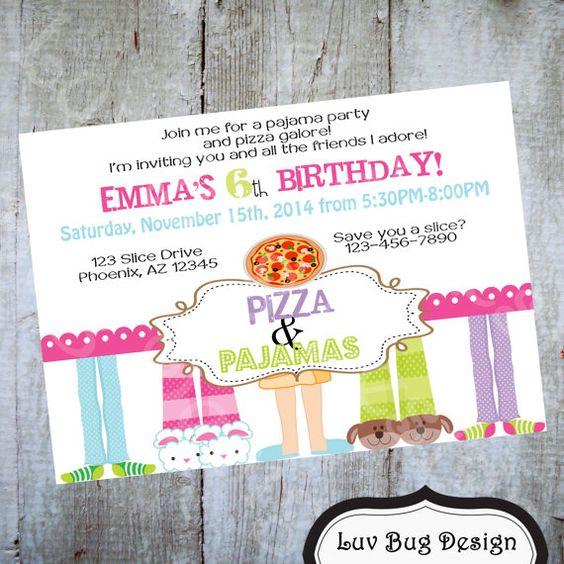 Pizza and Pajamas Invitation Printable Birthday by luvbugdesign