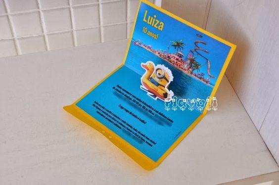 Convite Pop Up - tema Minions  :: flavoli.net - Papelaria Personalizada :: Contato: (21) 98-836-0113  vendas@flavoli.net