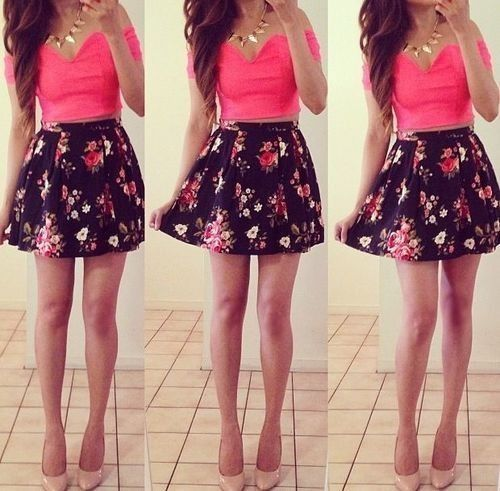 Floral pink and black skirt – Modern skirts blog for you