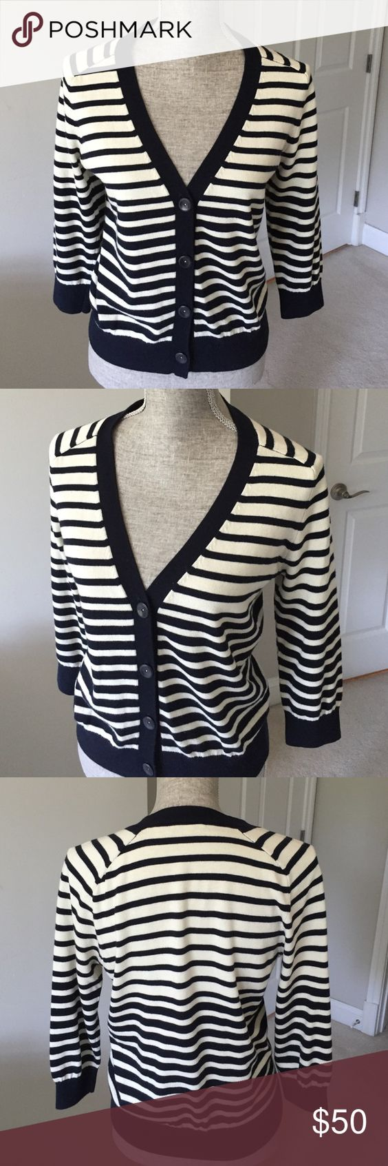 Vince cashmere blend navy/cream striped cardigan | Tops, Cream and ...