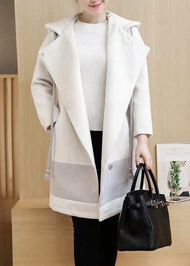 Long Sleeve Snap Button Hooded Collar White Coat on sale only US