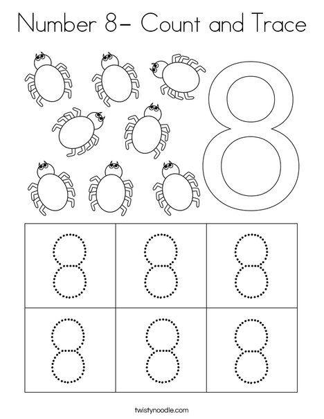 Number 8 Count And Trace Coloring Page Twisty Noodle Numbers Preschool Kids Worksheets Preschool Numbers Kindergarten