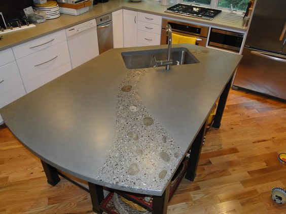 Indoor products photo gallery hard topix precast for Polished concrete kitchen countertops