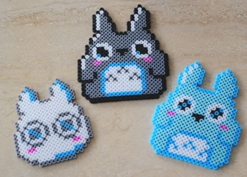 Totoro coaster set hama beads by pop that cassette