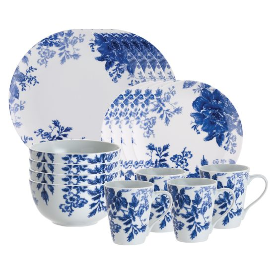 This pretty 16-piece dinnerware set will make a classy addition to your dining table. Featuring a porcelain construction, this dishwasher safe set promises style and durability. The delicate botanical design will complement your existing dinnerware.