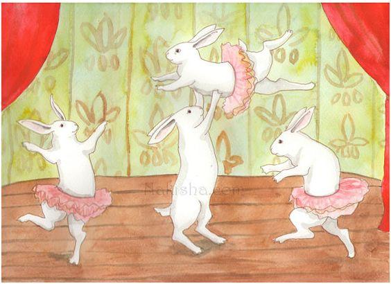 RESERVED for LS - Original Art - Ballet - Watercolor Rabbit Painting
