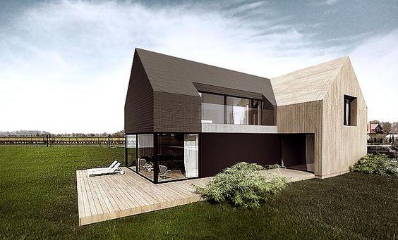 Klare Struktur ohne Dachüberstände. Wie ein Häuschen bei Monopoly wood and black house