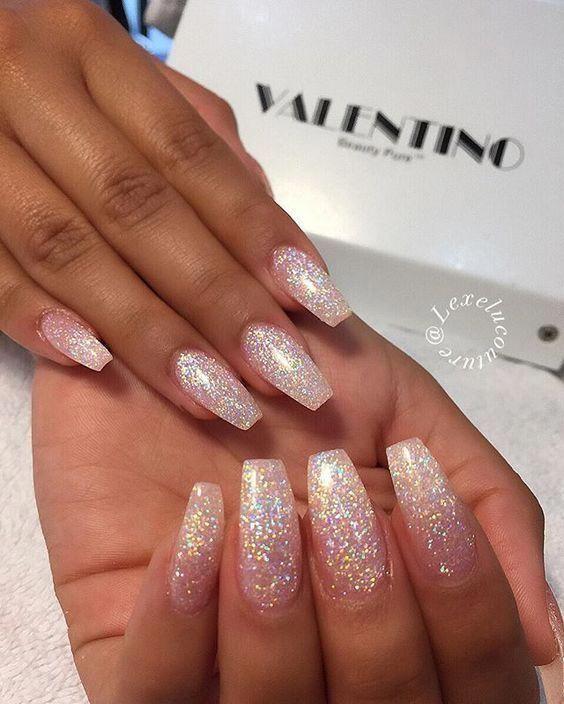 60 Trendy Glitter Coffin Nail Designs Flare Nails White Glitter Nails Prom Nails