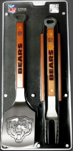 "Chicago Bears 3-Piece Set Sportula Set Grilling Tailgating Tools NFL Spatula . $59.99. Heavy-duty stainless steel. Dimensions: 22"" x 9"". Unique laser-cut design. Hard maple handles. Chicago Bears sports enthusiasts, SPORTULA® has your ultimate display of Bears Merchandise. Sportula 3-Piece Sets include The Sportula®, Tongs, and Fork and all are made of heavy duty stainless steel and hard maple handles. Go Bears!"