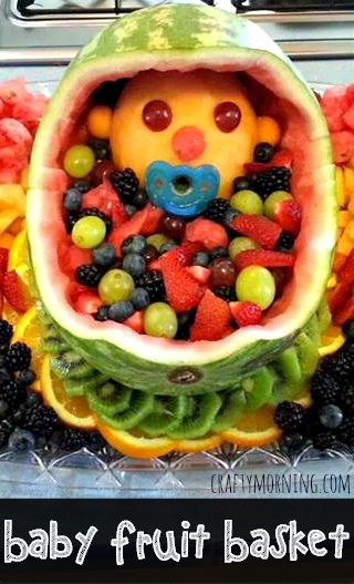 Learn how to make this cute baby shower fruit basket with a cantaloupe baby inside! It's a very easy baby shower idea that all the guests will love.