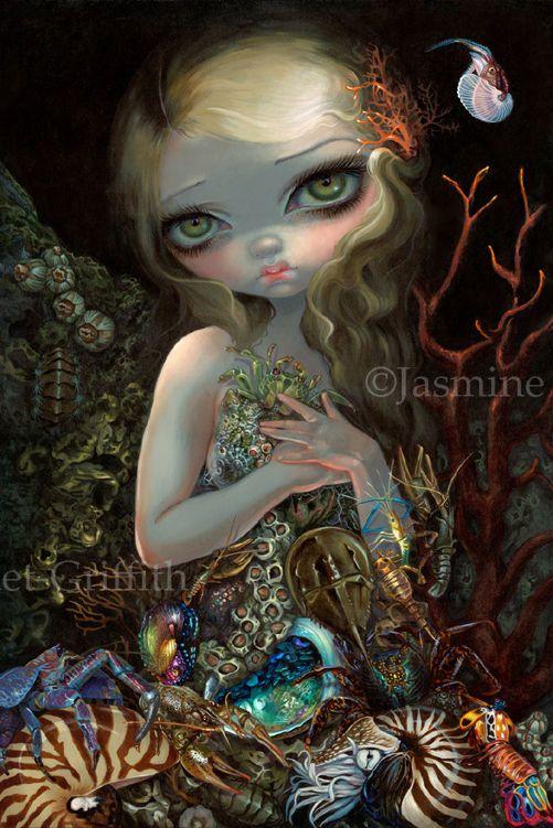Jasmine Becket-Griffith art BIG print SIGNED Soft Shell mermaid crabs seashells