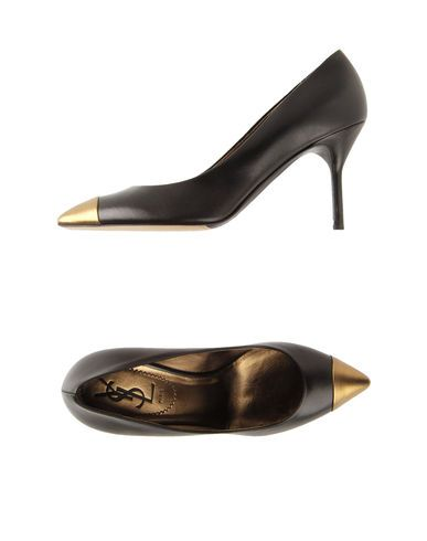 Two-tone black and gold heels. By Yves Saint Laurent Rive Gauche.