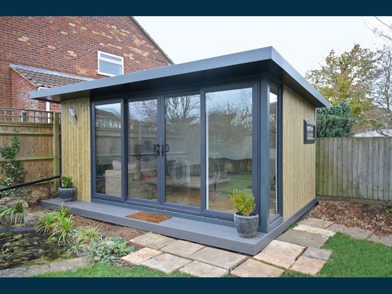 5x3 6 garden office with graphite double sliding door set for Garden shed 5x3