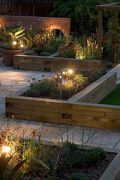 Softwood Timber Raised Sleeper Beds - Gardening Take In Summer, Fairy Lights Can Add A Touch Of Gla… | Backyard Landscaping, Garden Bed Layout, Diy Raised Garden