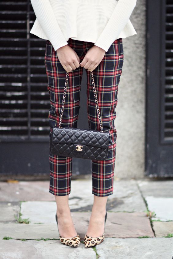 mixed and matched peplum sweater plaid pant and leopard. Black Bedroom Furniture Sets. Home Design Ideas