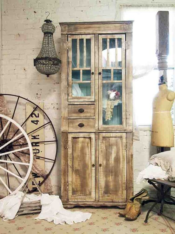 Painted Cottage Chic Shabby Farmhouse Cabinet by paintedcottages, $695.00