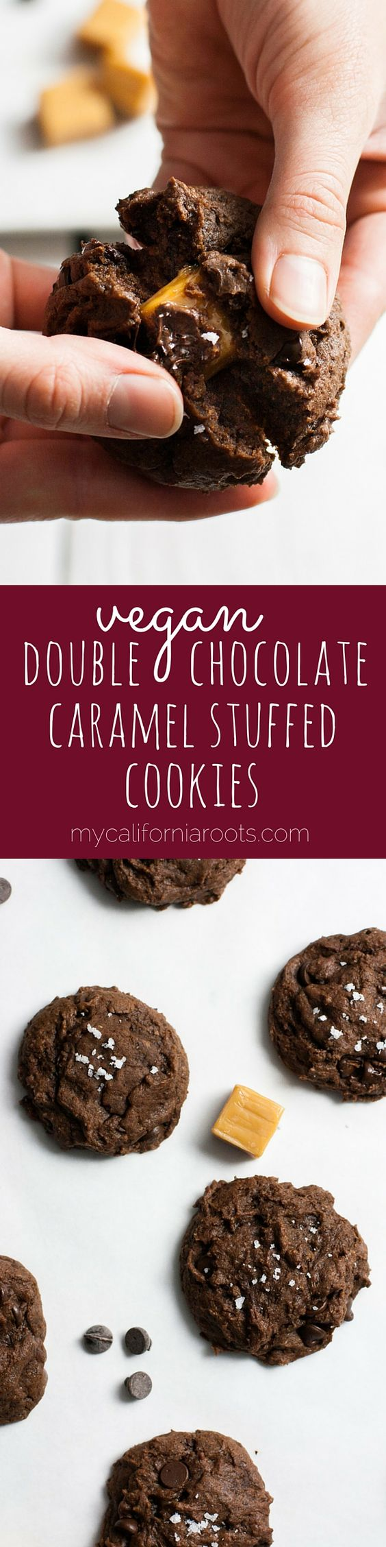 Vegan Caramel-Stuffed Double Chocolate cookies for the win!! Sprinkled with sea salt. I ate half the batch all by myself - I couldn't stop! These are my new favorite cookie.