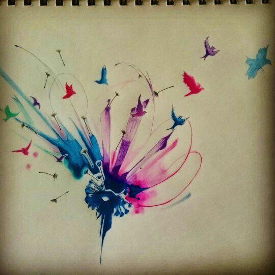 Watercolor acuarela diente de leon my desing mis dise os - Tattoo disenos a color ...