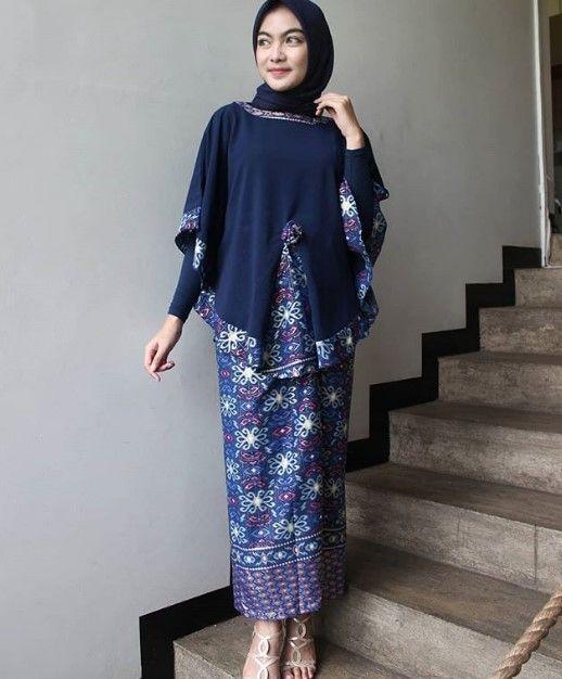 Model Baju Gamis Batik Kombinasi Kain Polos Modern Warna