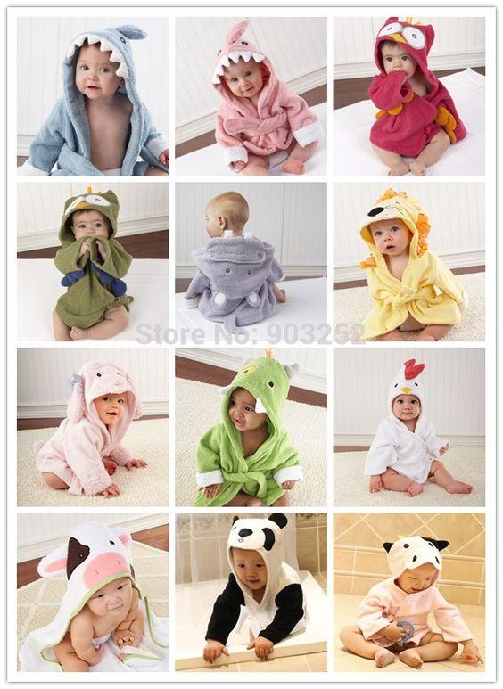 Cheap Retail  14 Diseños con capucha animales modelado bebé Albornoz / del bebé de la historieta del traje de baño Toalla / niños de caracteres / toallas de baño infantiles, Compro Calidad Toallas directamente de los surtidores de China: