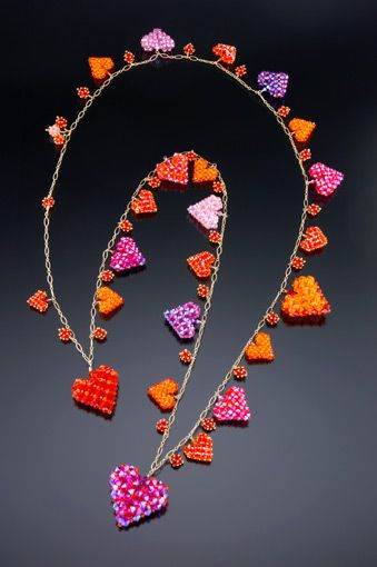 Right Angle Crystal : Suzanne golden crystal hearts right angle weave