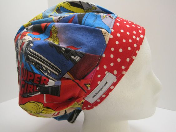 Surgical Bouffant Scrub Hat featuring Super Girl, Wonder Woman & Bat Girl by sewingzen on Etsy