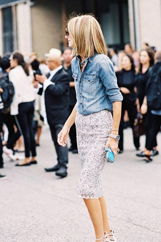 Chambray Shirt + Pencil Skirt: