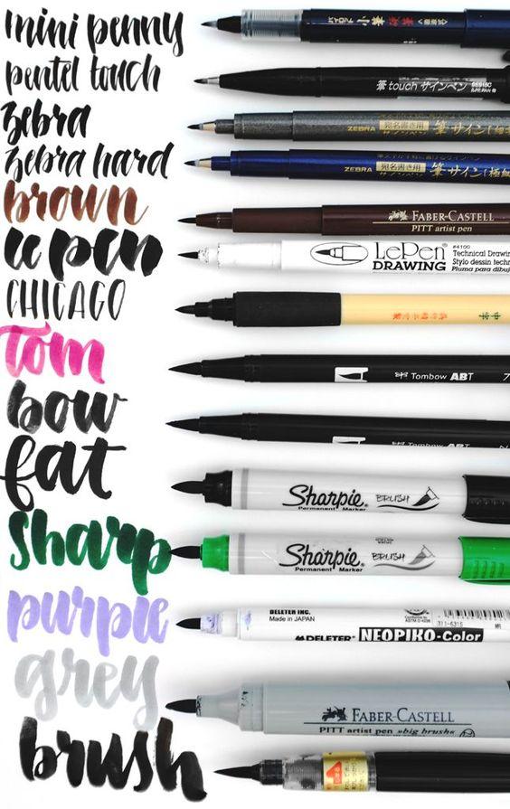 Post com comparação entre várias canetas próprias para caligrafia, escrita à mão (hand lettering): Tombow, Pentel, Zebra, Le Pen e muito mais!