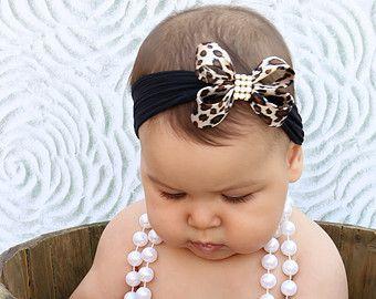 Leopard Bow Headband Baby Bow Headband Newborn by BySophiaBaby