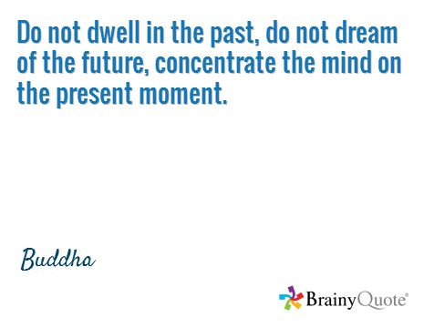 Do not dwell in the past, do not dream of the future, concentrate the mind on the present moment. / Buddha