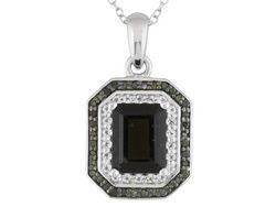 1.53ct Emerald Cut Moldavite, .11ctw White Topaz, .17ctw Green Diamond Silver Pendant With Chain