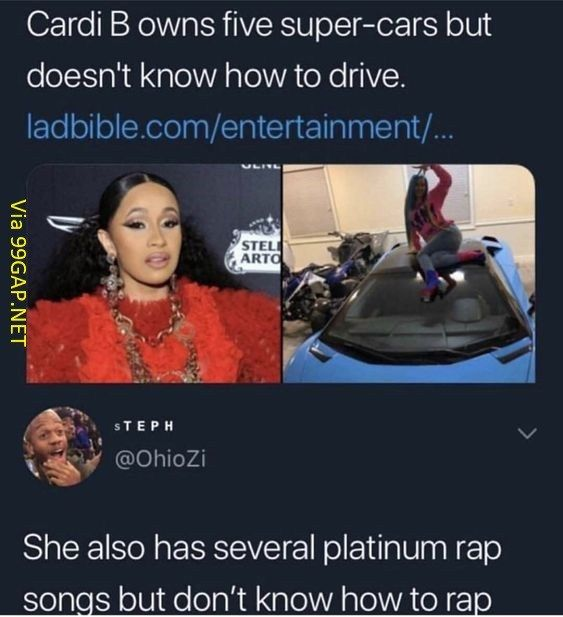 Funny Instagram Post About Cardib Vs Super Cars Funny Instagram Posts Funny Stupid Funny