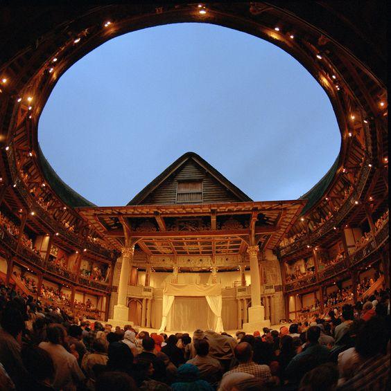Shakespeare's Globe Theatre in London _ Inside the Globe Theatre at night. Photo courtesy of the Globe Theatre's press library