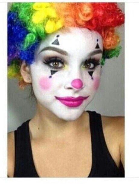 Cute simple halloween clown makeup pinteres for Clown schminktipps