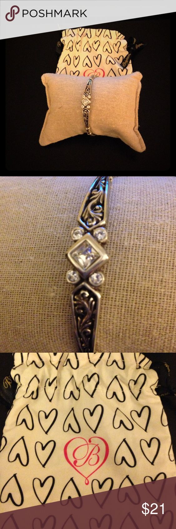 Brighton Zoe Bangle Vintage looking silver bracelet with scroll detail and sparkle. Brighton  Jewelry Bracelets
