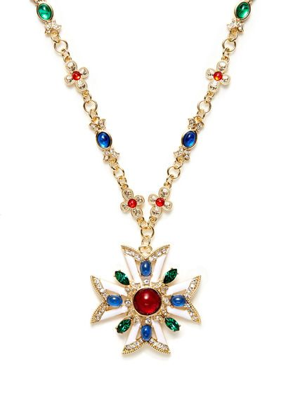 Kenneth Jay Lane Multi Color Deco Pendant Necklace Multi 0U1Wb