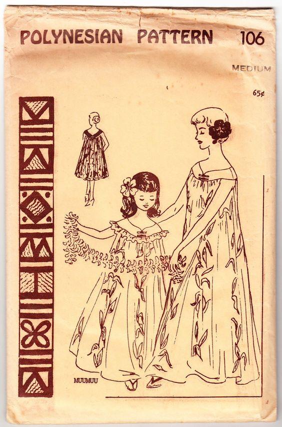 Vintage 1960 Polynesian 106 UNCUT Sewing Pattern Misses' Muu Muu Dress Size Medium Bust 34-36 by SewUniqueClassique on Etsy