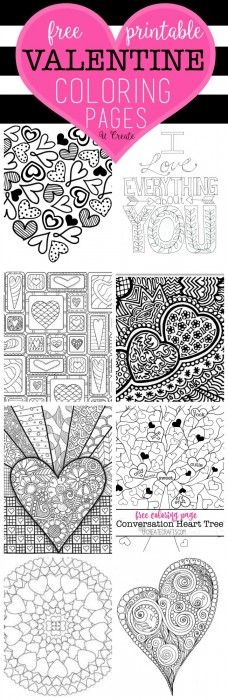 Free Printables - Valentine's Day Coloring Pages via U CREATE - perfect for adults or kids! #valentines #freeprintablevalentines #valentinesprintables #freevalentinesdaycards #valentinesdaypartyprintables #valentinesdayparty
