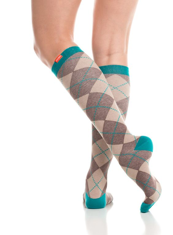 Compression socks!! Women's Brown & Teal (Cotton)