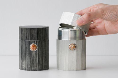 Satsuma Tin Tea Canister with Satsuma Button by BARON