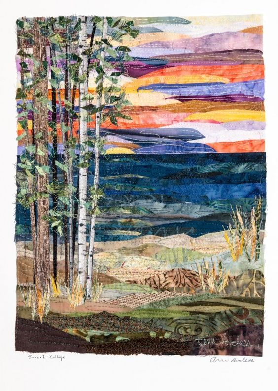 Sunset-Collage quilt by Ann Loveless = Another art quilt by the same quilter as the previous birch tree by lake quilt.                                                                                                                                                     More: