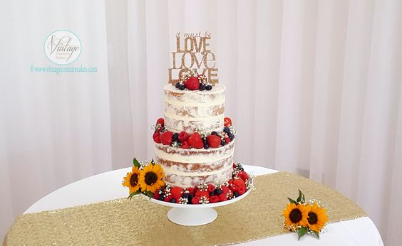 Two tier semi-naked Victoria Sponge cake surrounded with summer berries.  #vccake #wedding-cake #semi naked #vintage