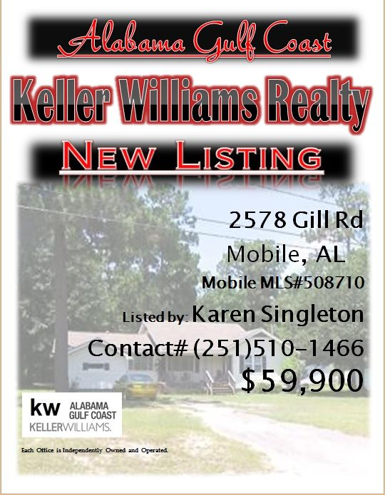 2578 Gill Rd. Mobile...MLS# 508710...$59,900...3 Bed 2 Bath...Lots of house on a huge lot. Home has had lots of renovation. Currently rented, and is a great investment property. Could be purchased separately or as part of a package of investment properties...Please Contact: Karen Singleton @ 251-510-1466