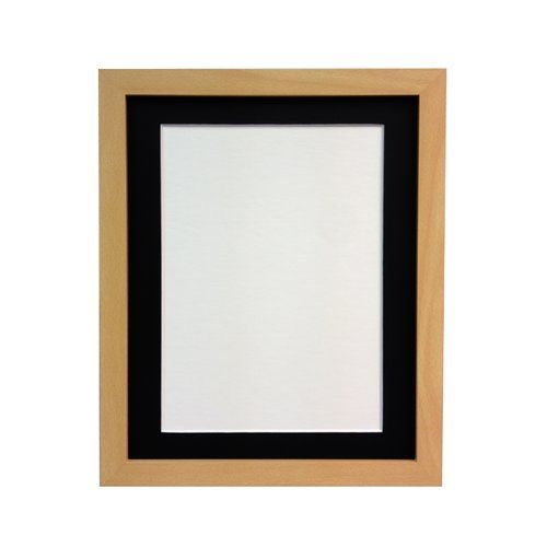 BEECH WOODEN PICTURE FRAME WITH MOUNT AND GLASS