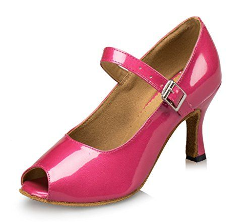 CRC Womens Stylish Peep Toe Pink Leatherette Ballroom Morden Salsa Latin Tango Party Wedding Professional Dance Shoes 115 M US >>> You can find out more details at the link of the image.